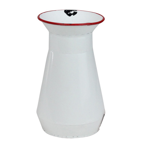 """7.5"""" White and Red Weathered Lacquer Milk Bottle Flower Vase - IMAGE 1"""