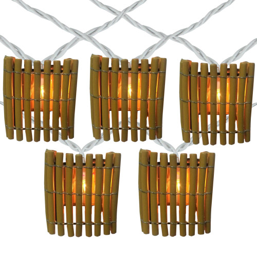 10-Count Brown Tropical Bamboo Outdoor Patio String Light Set, 7.25ft White Wire - IMAGE 1