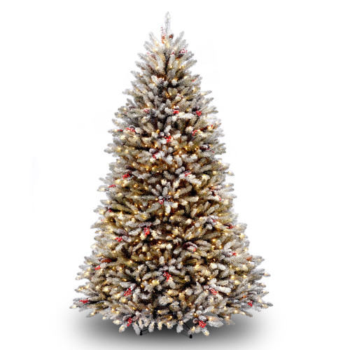 7' Dunhill Fir Artificial Christmas Tree with Red Berries - Clear Lights - IMAGE 1