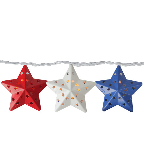 10-Count Red and Blue Fourth of July Star String Light Set, 7.25ft White Wire - IMAGE 1