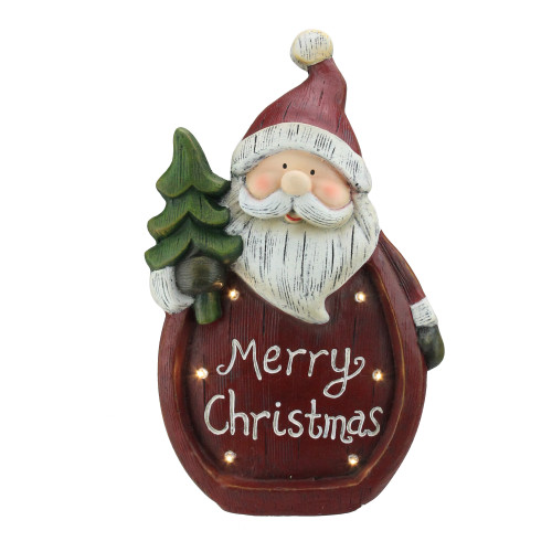 "15.5"" LED Lighted Santa Weathered Table Top Christmas Decoration - IMAGE 1"