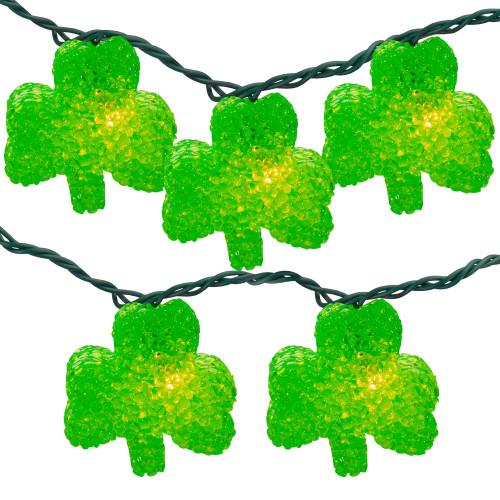 10 Green Irish Shamrock St Patrick's Day String Lights - 7.25ft Green Wire - IMAGE 1