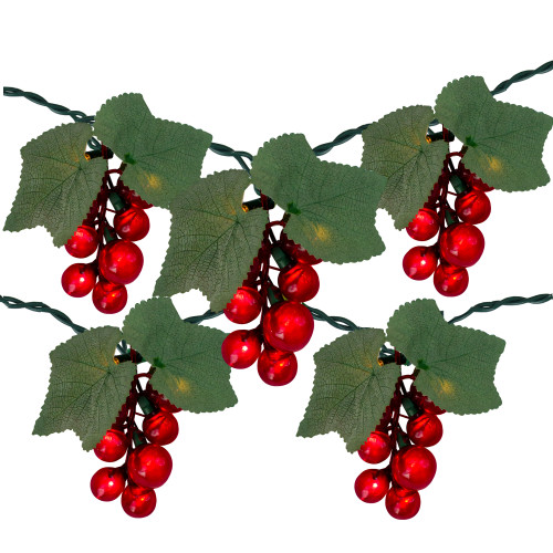 5-Count Red Grape Cluster Outdoor Patio String Light Set - 6ft Green Wire - IMAGE 1