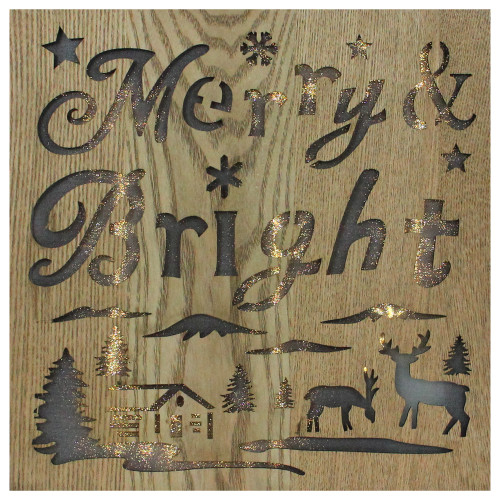 """12"""" Lighted Wooden """"Merry Bright"""" Christmas Wall Decoration - IMAGE 1"""