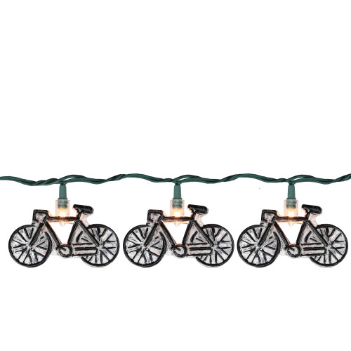 10 Black and Clear Bicycle Summer Patio String Lights – 8.5 ft Green Wire - IMAGE 1