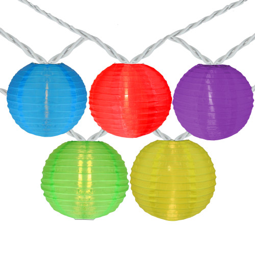 10-Count Multi-Color Round Lantern Patio String Light Set, 7.25ft. White Wire - IMAGE 1