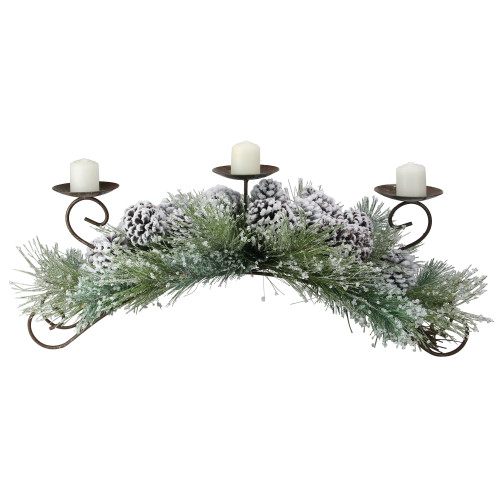 """30"""" Green Frosted Pine Needle and Pine Cone Christmas Candle Holder - IMAGE 1"""