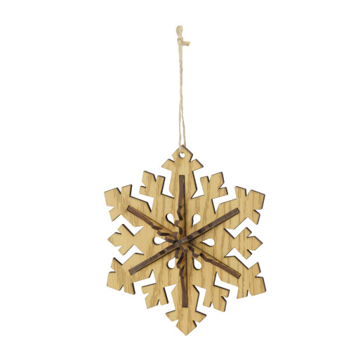 """5.25"""" Brown and Beige Snowflake Christmas Ornament - IMAGE 1"""