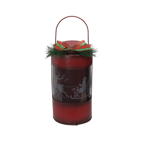 """10"""" Red and Black Animated Holographic Santa Claus Christmas Lantern with Timer - IMAGE 1"""