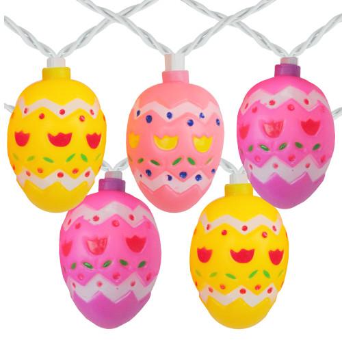 10-Count Pastel Multi-Color Easter Egg String Light Set, 7.25ft White Wire - IMAGE 1