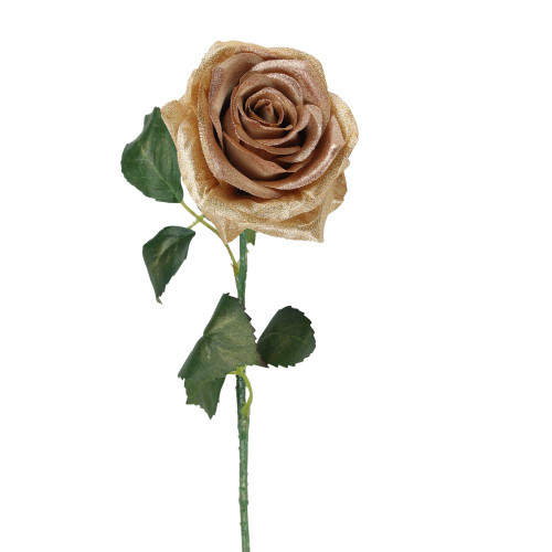 """21.5"""" Brown and Green Artificial Silk Rose Craft Pick - IMAGE 1"""