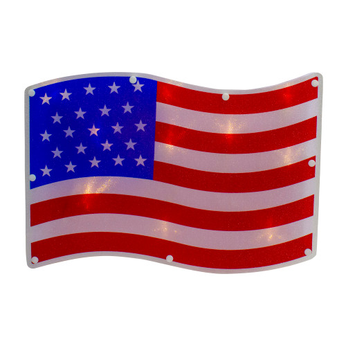"13.25"" Red and White LED Lighted Patriotic American Flag Window Silhouette Decor - IMAGE 1"