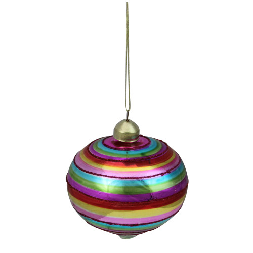 "4"" Red and Green Cirque Striped Glass Onion Christmas Ornament - IMAGE 1"