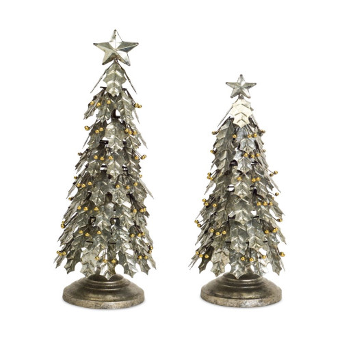 Set of 2 Distressed Finish Holly Leaf Artificial Christmas Tabletop Trees 3' - IMAGE 1