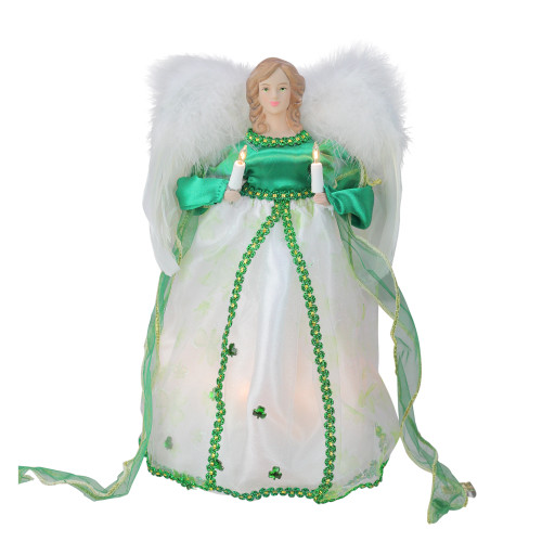 """12"""" Green and White Lighted Luck of the Irish Angel Christmas Tree Topper - IMAGE 1"""