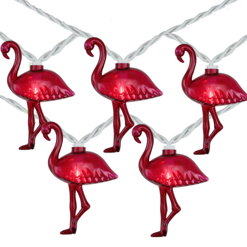 10-Count Pink Flamingo Summer Patio String Light Set, 7.25ft White Wire - IMAGE 1