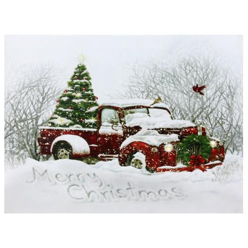 "LED Fiber Optic Truck and Tree Christmas Canvas Wall Art 12"" x 15.75"" - IMAGE 1"