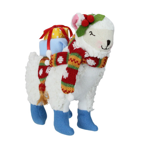 """8.5"""" White and Blue Plush Llama with Holly Plant Christmas Tabletop Figure - IMAGE 1"""