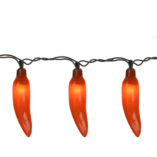 35-Count Red Chili Pepper Patio String Light Set, 22.5ft Brown Wire - IMAGE 1