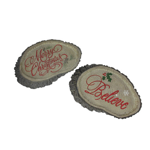 """Set of 2 Gray and Red Tree Trunk Christmas Wall Plaques 12.5"""" - IMAGE 1"""