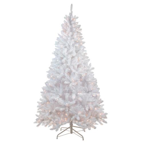 7' Pre-Lit Medium Flocked Artificial Christmas Tree - Clear Lights - IMAGE 1
