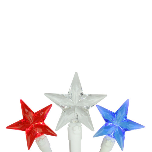 30-Count Red and Blue LED Patriotic Star Fourth of July String Light Set, 7ft White Wire - IMAGE 1