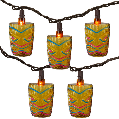 10-Count Brown Tiki Mask Patio String Lights - 7.25 ft Brown Wire - IMAGE 1