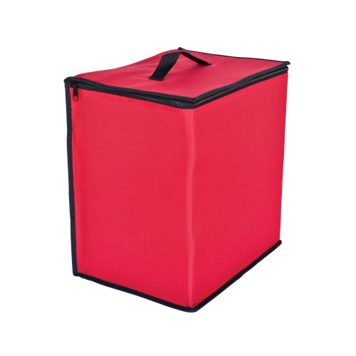 """13.5"""" Red and Black Zip Up Christmas Ornament Storage Tub - IMAGE 1"""