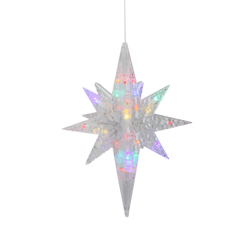 """20"""" Pre-Lit Clear 3D LED and Morphing Bethlehem Star Christmas Decor - Multicolor Lights - IMAGE 1"""