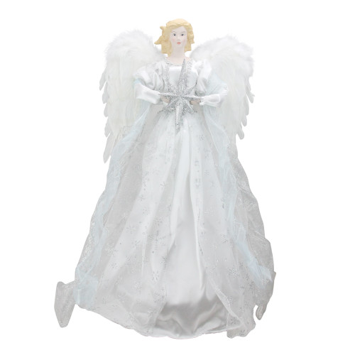 """22"""" White and Silver Glitter Angel with Star Hanging Christmas Decoration - IMAGE 1"""