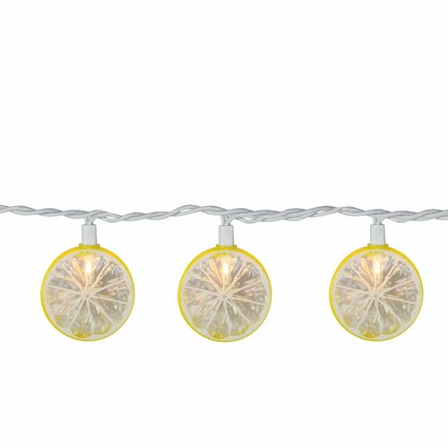10-Count Yellow and Clear Lemon Patio String Mini Summer Light Set, 8.5ft White Wire - IMAGE 1