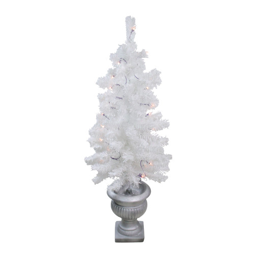3.5' Pre-Lit Potted Flocked White Pine Artificial Christmas Tree - Clear Lights - IMAGE 1