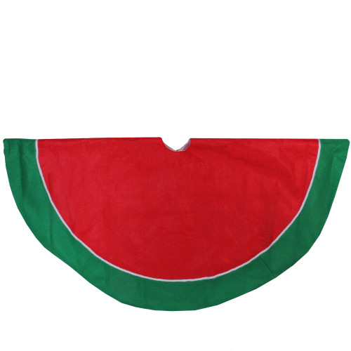 "48"" Red and Green Traditional Christmas Tree Skirt - IMAGE 1"