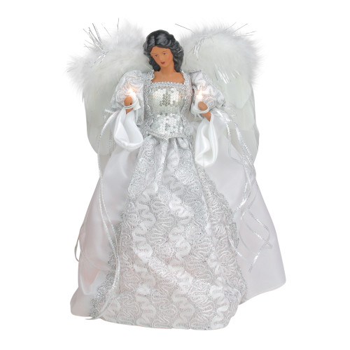 "14.5"" White and Silver Elegant Feathered Tree Topper - IMAGE 1"