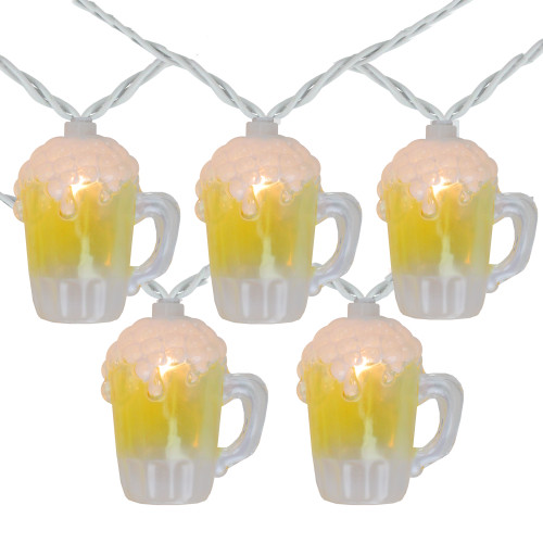 10-Count Beer Mug Summer Outdoor Patio String Light Set, 7.25ft White Wire - IMAGE 1