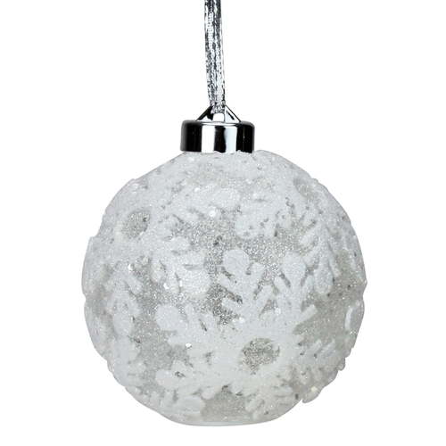"""6ct Battery Operated Pre-Lit Silver Glitter Snowflake Christmas Ball Ornaments 4.25"""" (105mm) - IMAGE 1"""