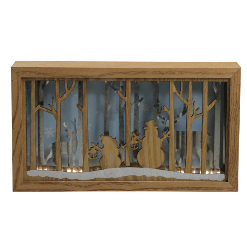 """10.5"""" Lighted Wooden Snowmen and Reindeer Shadow Box Christmas Decoration - IMAGE 1"""