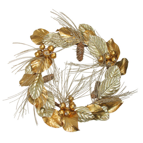 Golden Treasures Glittered Berries and Pine Cone Artificial Christmas Wreath - 24-Inch, Unlit - IMAGE 1