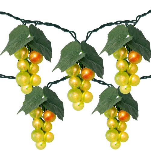 5-Count Green Grape Cluster Outdoor Patio String Light Set, 6ft Green Wire - IMAGE 1