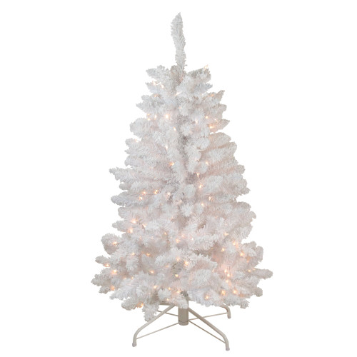 4' Pre-Lit Slim Flocked Artificial Christmas Tree - Clear Lights - IMAGE 1