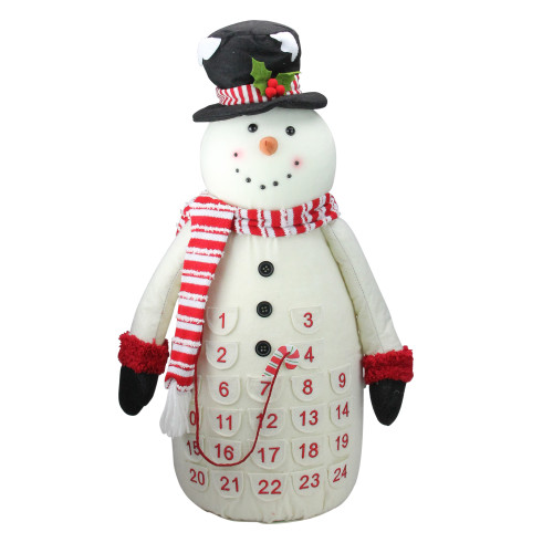 """24.5"""" White and Red Plush Snowman Countdown Christmas Tabletop Decor - IMAGE 1"""