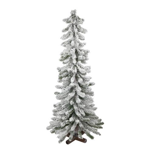 4' Slim Flocked Alpine Artificial Christmas Tree - Unlit - IMAGE 1