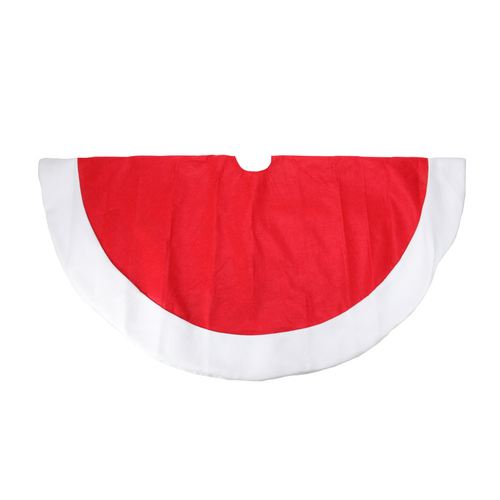 "48"" Red and White Traditional Christmas Tree Skirt with Border - IMAGE 1"