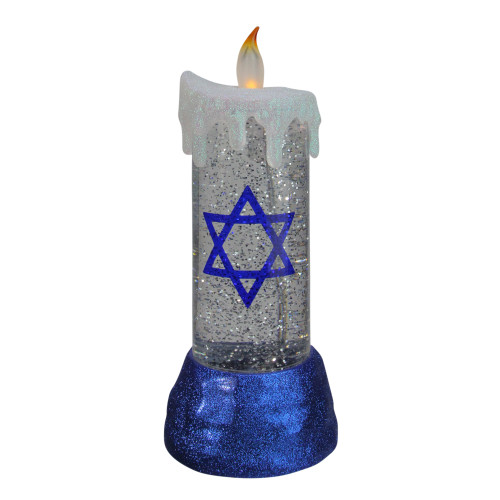 """13"""" Blue and White Battery Operated Star of David LED Hanukkah Candle - IMAGE 1"""