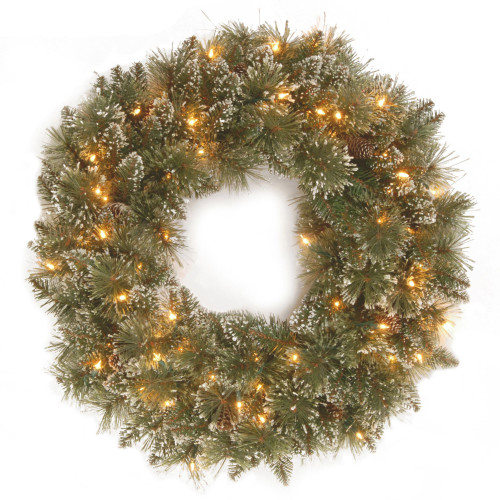 """24"""" Pre-Lit Glittery Bristle Pine Artificial Christmas Wreath - LED Lights Battery Operated - IMAGE 1"""