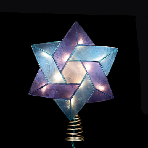 """8"""" Lighted Blue and White Star of David Capiz Shell Christmas Tree Topper - Clear Lights - IMAGE 1"""