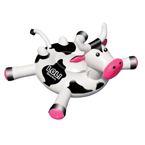 Inflatable Black and White Ride-On Cow Novelty Swimming Pool Float, 54-Inch - IMAGE 1