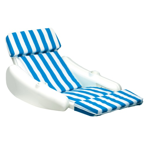 66-Inch Sunchaser Striped Blue and White Swimming Pool Floating Cushion Lounge Chair - IMAGE 1