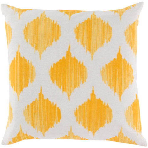 """22"""" Yellow and White Woven Contemporary Pattern Digitally Printed Throw Pillow - IMAGE 1"""