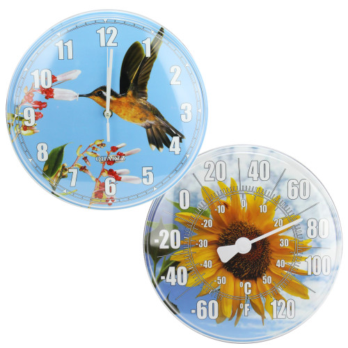 HydroTools Sunflower and Hummingbird Swimming Pool Thermometer and Wall Clock, 12-Inches - IMAGE 1